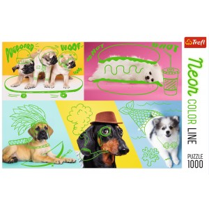 PUZZLE 1000 NEON COLOR ODLOTOWE PSY 10578